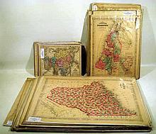 45 Pc. Antique HAND-COLORED U.S. & WORLD MAPS Johnson's Family Atlas 1864 Italy 1850 Roman Empire 1845