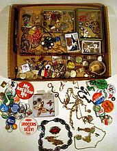 Vintage COSTUME JEWELRY, WATCH CHAINS, PINBACKS Wrist Watches Brooches Necklaces Military Insignia Labor Union Buttons Beads Medals