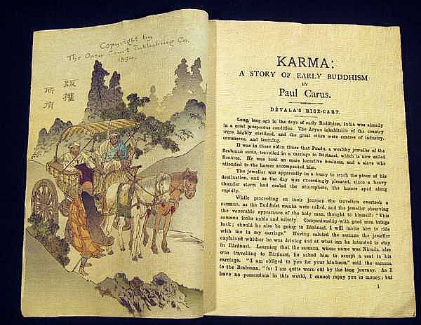 KARMA: A STORY OF EARLY BUDDHISM CREPE PAPER BOOK 1st EDITION - PAUL CARUS 1894