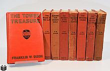8V Franklin W Dixon / Leslie McFarlane EARLY ISSUE HARDY BOYS IN RED CLOTH BINDINGS 1927-1959 Tower Treasure Missing Chums Secret Old Mill Caves Cabin Island Missing Chums Hunting Hidden Gold House Cliff Original Text