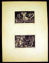Original Art PALLE NIELSEN LINOCUT The Soldier and the Child #17 and #18 Series Anti-Fascist Danish Expressionist Printmaker Artist