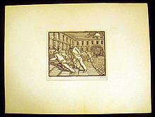 Original Art PALLE NIELSEN LINOCUT The Enchanted City Series Anti-Fascist Danish Expressionist Printmaker Artist