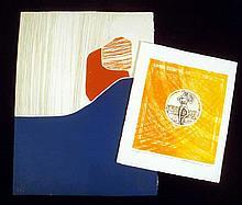 2 Pc. Original FINE ART ENGRAVINGS Martin Barooshian Masquerade Trial Proof Second State 1975 Illuminated Miniature Intaglio Aquatint Abstract Embossing