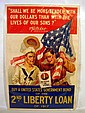 Antique WORLD WAR ONE POSTER Second Liberty Loan Tender With Our Dollars Soldier & Sailor Flag U.S. Government Bond 1917 W.G. McAdoo