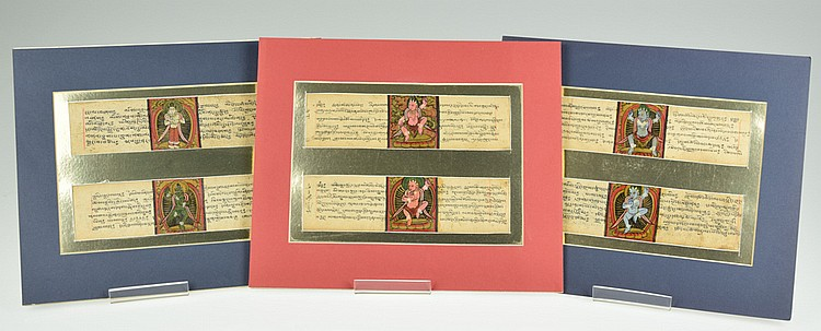 6Pcs Original Antique TIBETAN ILLUMINATED MANUSCRIPT LEAVES Prayer Panels Ink Calligraphy Color Painted Illustrations Deities Buddhist Hindu Art