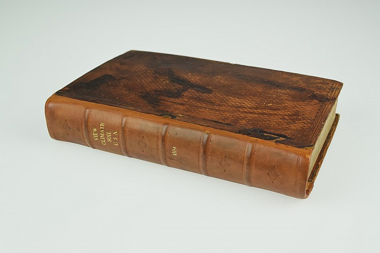 C F Volney VIEW OF THE CLIMATE AND SOIL OF THE UNITED STATES OF AMERICA 1804 Antique French Travel & Exploration Topography Engraved Fold-Out Maps Plates Leather Binding