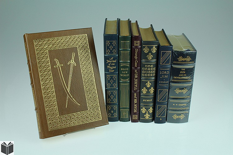 7V Decorative Deluxe Editions EASTON PRESS Conrad Stevenson Huxley Scott Defoe Dumas Greener Lord Jim Gun & Its Development Talisman  Plague Year Three Musketeers Dr Jekyll & Mr Hyde Brave New World