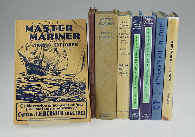 8V Shackleton Expedition POLAR & ARCTIC EXPLORATION Marooned Northwest Passage Cabot Voyages Hakluyt Society Middleton Moor Francis Smith Vyvyan Adventure Harpooner Bernier Master Mariner Signed MacAlpine