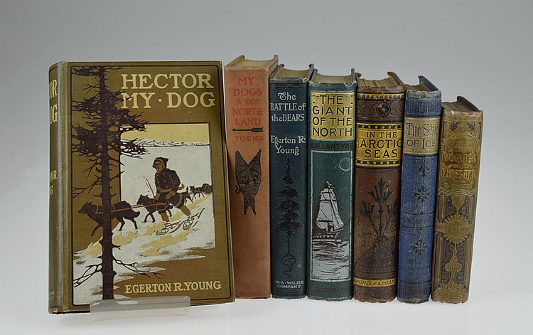 7V Sadler Ballantyne DECORATIVE ANTIQUE ARCTIC FICTION Polar Exploration Egerton Young In The Arctic Seas Ship Of Ice Hector My Dogs Of The Northland Battle Of The Bears
