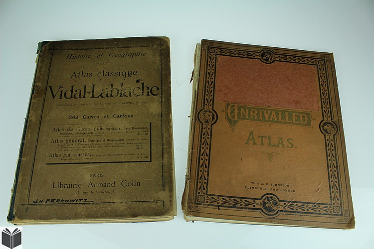 2V UNRIVALLED ATLAS / ATLAS CLASSIQUE VIDAL-LABLACHE 1890-1894 Antique Oversize Atlases Double-Page Color Maps Geography History
