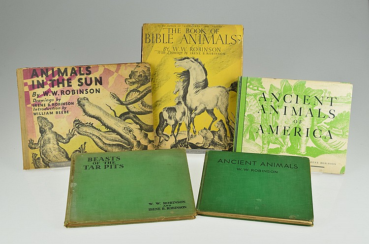 5V Signed First Edition CHILDREN'S BOOKS W.W. & Irene B. Robinson Antique Vintage Dinosaurs Ancient Animals Tar Pits Bible Horses Mammoth