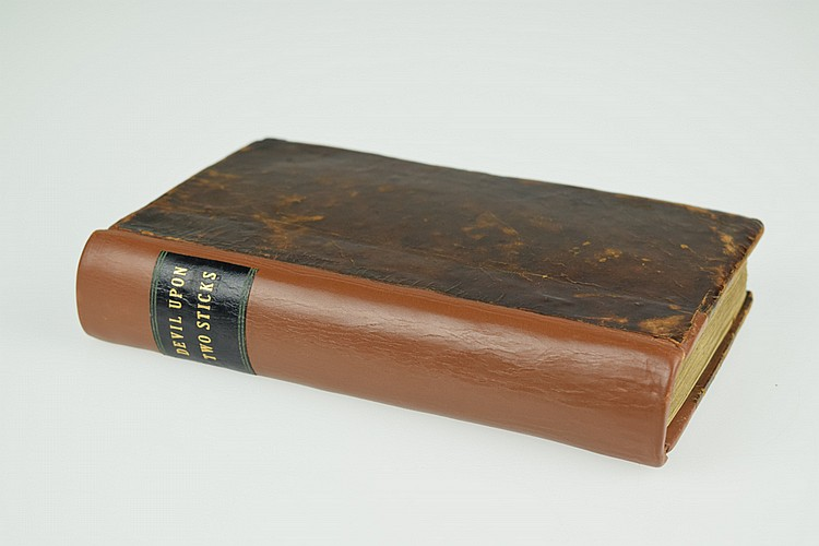 Alain Rene Lesage THE DEVIL UPON TWO STICKS 1770 Antique French Comic Novel Engraved Plates Leather Binding