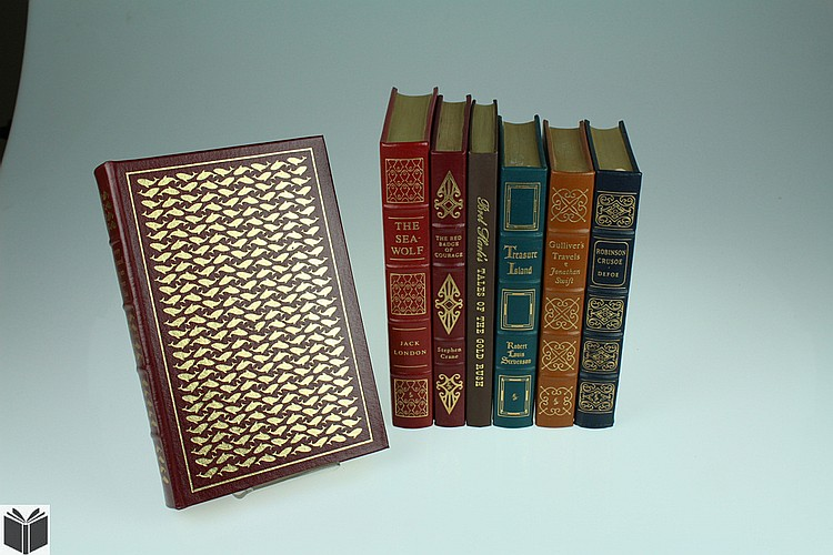 7V Verne Defoe Stevenson EASTON PRESS TITLES Red Badge Courage Gold Rush Robinson Crusoe Twenty Thousand Leagues Sea Wolf Gulliver's Travels Swift Greatest Books Literature Decorative Leather Bindings