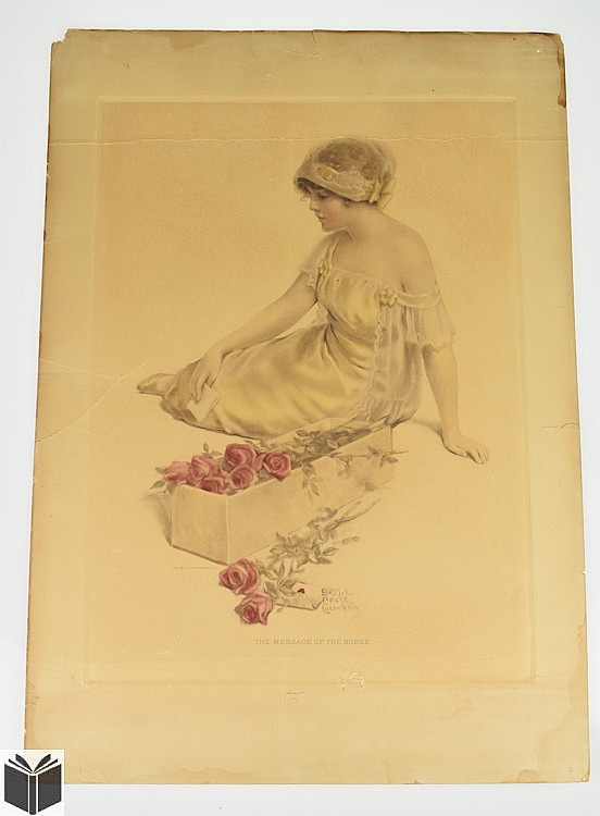 Bessie Pease Gutmann THE MESSAGE OF THE ROSES Antique Art Print 641 Female Figure Flowers American Illustrator Illustration Child Girl Romantic