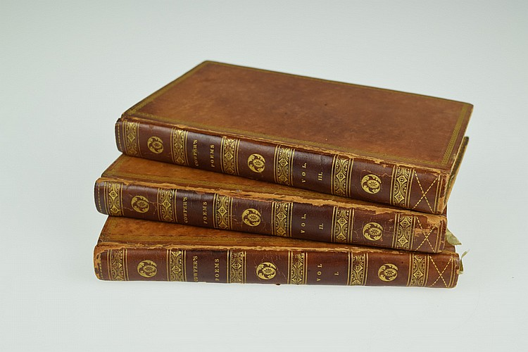 3V William Cowper TABLE TALK AND OTHER POEMS / THE TASK / MINOR POEMS 1818 Antique English Poetry Philadelphia Imprint Uniformly Bound Leather Bindings Engraved Vignettes
