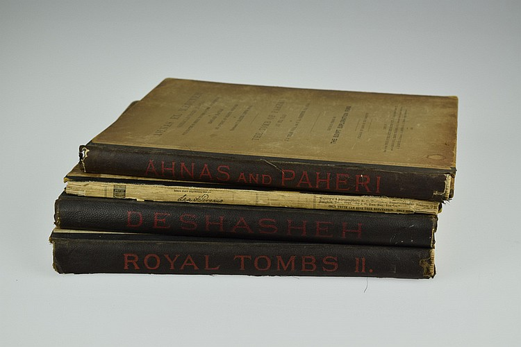 4V Petrie / Griffith / Naville / Tylor VINTAGE & ANTIQUE EGYPTOLOGY 1894-1901 Archaeology Deshasheh Ahnas El Medineh Paheri Deir El Bahari Royal Tombs Inscriptions Deshasheh Egypt Exploration Fund Fold-Out Plates Maps