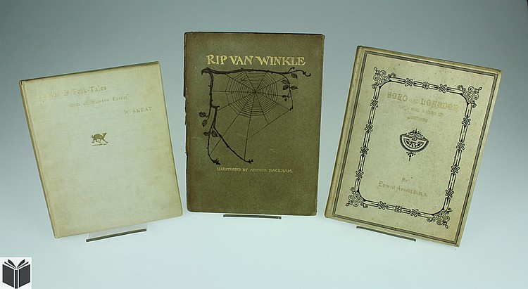 3V Rip Van Winkle DECORATIVE ANTIQUE BOOKS Signed Hero and Leander Rackham Illustrations Fables Folk-Tales Skeat Gilt Embossed 19th C