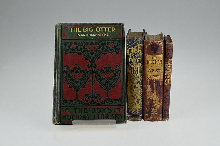 4V Ballantyne Geikie DECORATIVE ANTIQUE AMERICAN WEST HISTORICAL FICTION Western Americana Big Otter Life In The Woods Away In The Wilderness Wild Man Frontier