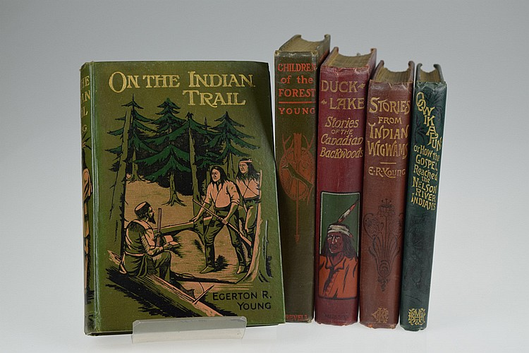 5V Native American Indians DECORATIVE ANTIQUE LITERATURE BY EGERTON R YOUNG American West Frontier Pioneers Oowikapuni Gospel Nelson River Indians Wigwams And Northern Campfires Children Of The Forest