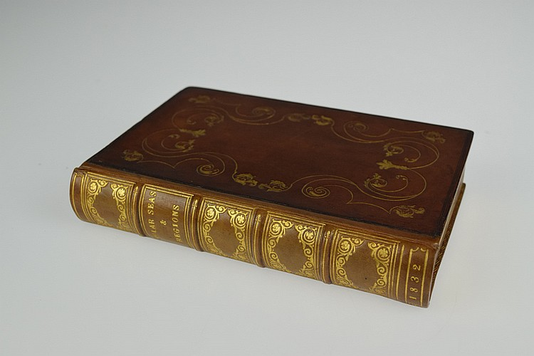 John Leslie / Robert Jameson / Hugh Murray NARRATIVE OF DISCOVERY AND ADVENTURE 1832 Antique Arctic Exploration Polar Expedition Natural Nautical History Whale Fishing Fold-Out Map Decorative Leather Binding