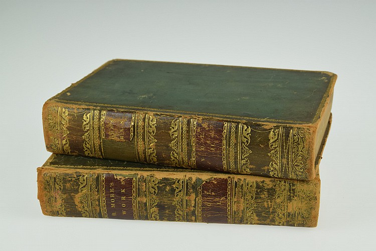 2V THE WORKS OF HANNAH MORE WITH A SKETCH OF HER LIFE 1832 Antique English Theology Poetry & Drama Leather Bindings Frontispiece Portrait Philanthropy