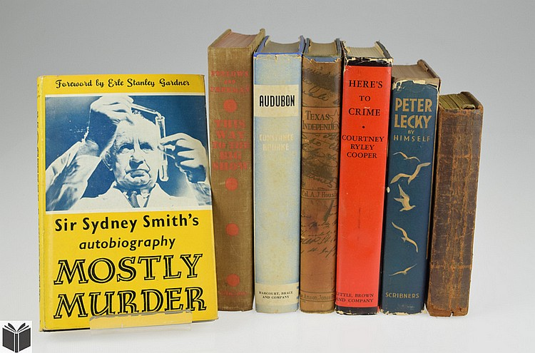 7V True Crime ANTIQUE HISTORY South America Mexico Texas Independence Mostly Murder Audubon This Way To The Big Show Dexter Fellows Peter Lecky Sir Sydney Smith Courtney Ryley Cooper Dust Jackets