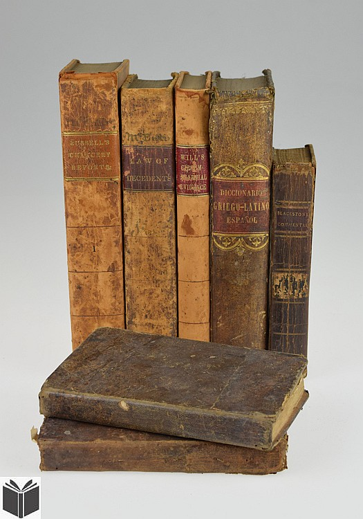 7V Law Arithmetic ANTIQUE LEATHERBOUND REFERENCE & LEGAL TREATISES Schoolmaster's Assistant Education England Blackstone Circumstantial Evidence Precedents Greek Latin Spanish Language
