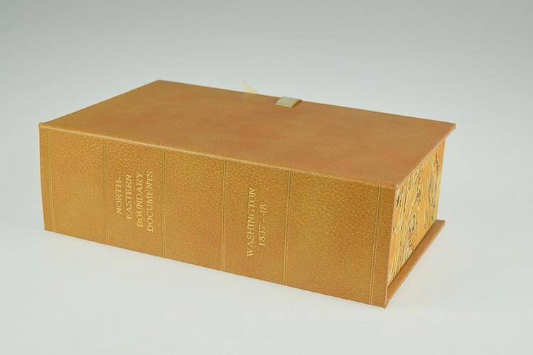 27V Van Buren / Polk / Buchanan NORTHEASTERN BOUNDARY DOCUMENTS 1837-48 Antique United States Canadian History Poinsett Maine Leather Clamshell Case