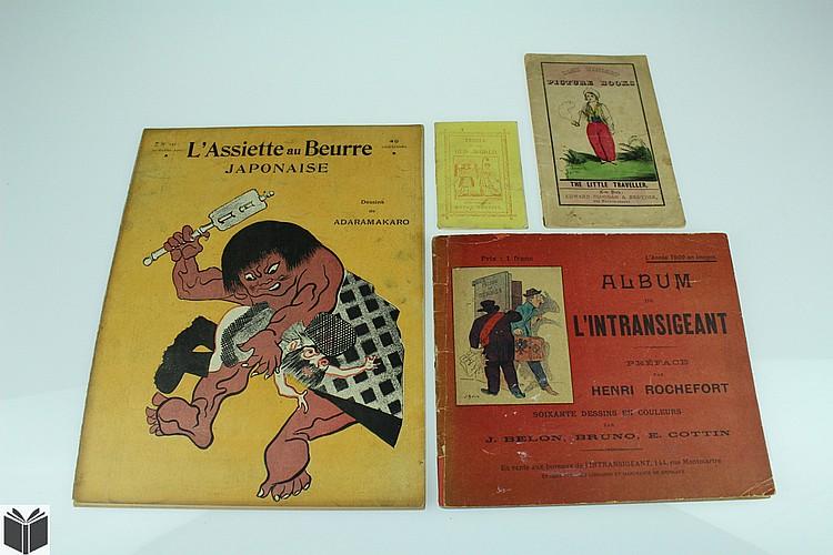 4V Antique CHILDREN'S BOOKS Animated Cartoon Album de L'Intransigeant Dame Wonders People of the Old World L'Assiette au Beurre Japonaise Art