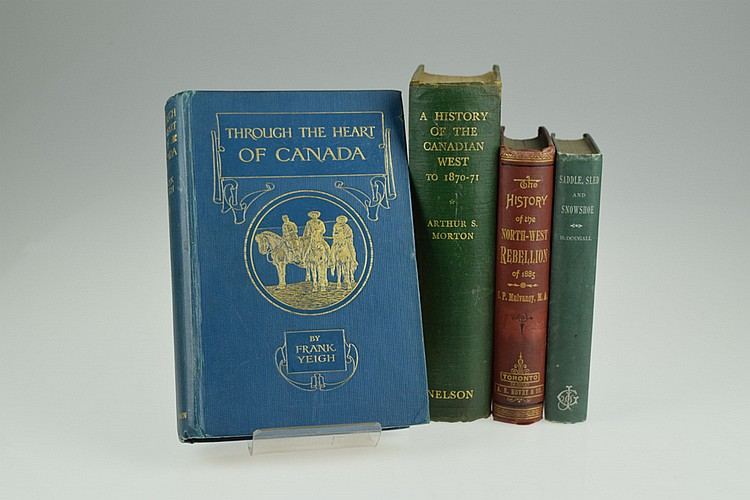 4V Indian Wars DECORATIVE ANTIQUE HISTORY OF THE CANADIAN WEST Frontier Pioneers Indigenous Peoples First Nations Northwest Rebellion Saddle Sledge Snowshoe Canada
