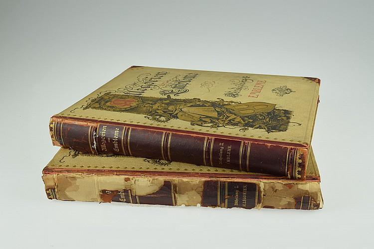 2V Martin Gerlach ALLEGORIEN UND EMBLEME 1882 Antique German Plate Folios Allegorical Figures Emblems Crests Theology Decorative Bindings