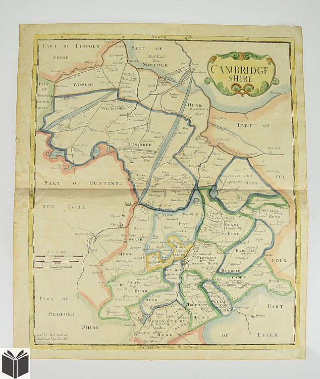 Cambridgeshire England ANTIQUE ENGRAVED MAP C1770 Camden's Britannia Sutton Nicholls Watercolor Border Cartouche Britain UK Cartography