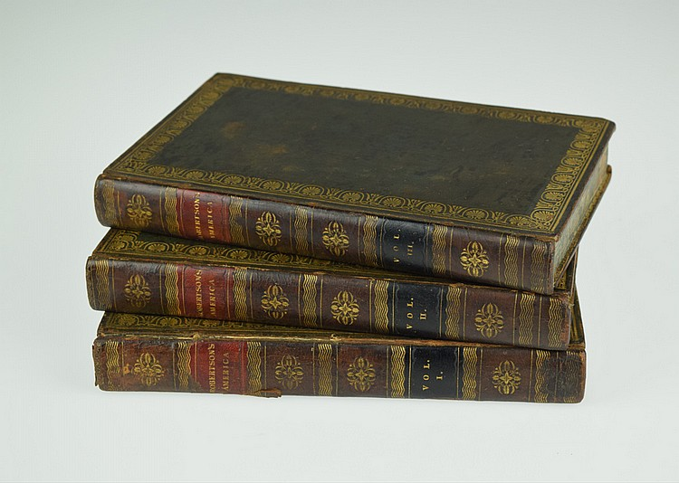 3V William Robertson THE HISTORY OF AMERICA 1821 Antique United States History South America Fold-Out Maps Plates Decorative Binding
