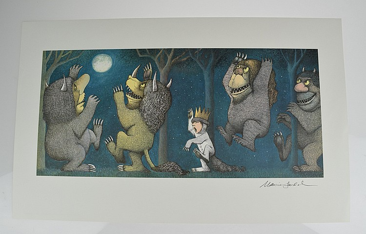 Scarce Signed MAURICE SENDAK Where The Wild Things Are Poster Print 1971 Howling at the Moon Children's Illustration Art Agent Provenance Fine
