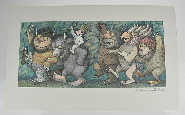 Scarce Signed MAURICE SENDAK Where The Wild Things Are Poster Print 1971 King of the Wild Things Children's Illustration Art Agent Provenance Fine