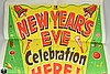 VINTAGE NEW YEAR'S EVE POSTER c1945 Holiday Season Celebration Party Advertisement Green Red Yellow Allied Printing Chicago Illinois Modern Art Print Hats Noisemakers