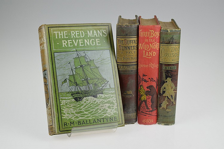 4V Native American Indians DECORATIVE ANTIQUE WESTERN FICTION Hudson's Bay Company Canada Americana Frontier Pioneers Ballantyne Buffalo Runners Egerton R Young Three Boys In The Wild North Land
