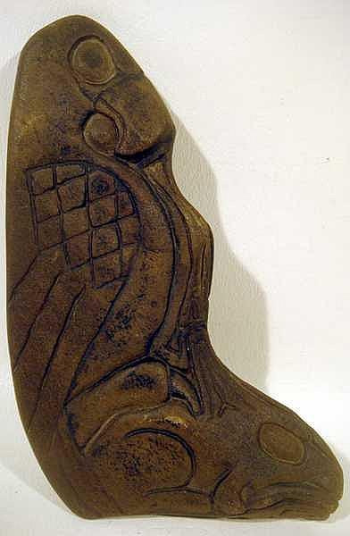 Indigenous pacific northwest tribal stone carving bird thund