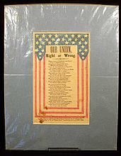 Antique Decorative CIVIL WAR SONG SHEET Our Union Right or Wrong Patriotic Poem Stars & Stripes Publisher J. Wrigley New York Ephemera