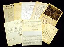 9 Pc. Antique MILITARY CORRESPONDENCE Ephemera Civil War Ordnance Armaments Gatling Early Machine Gun Spanish-American World War I Basil Zaharoff Thomas Childs James A. Drain Alfred Mordecai Laurence Benet Charles Noe Daly Henry Metcalfe