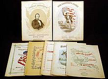 7 Pc. Antique CIVIL WAR SHEET MUSIC Camp Troubles! Hark, the Bugle Resounds Here's Your Mule Gen. Burnside's Quick Step Strike! Ye Sons of Liberty Parson Brownlow's Quick Step Under the Daisies Our Country's Songs
