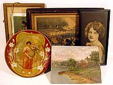 5 Pc. Antique ORIGINAL ART, PRINTS, + CURRIER & IVES Civil War Lithograph Chancellorsville 1863 German Catholic First Communion Landscape Oil Painting