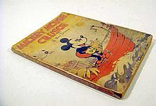 Walt Disney MICKEY MOUSE CRUSOE 1936 First Edition Vintage Juvenile Literature Robinson Crusoe Shipwreck Illustrated Wrappers