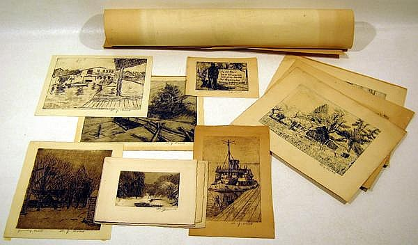 13Pc Henry Ives Cobb Bridgewood WJ Wood SIGNED ARTWORK Chicago Government Building Winter Country Scenes