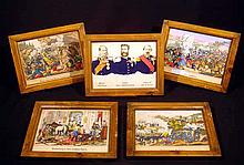 5 Pc. Antique GERMAN WAR CHROMOLITHOGRAPHS Franco-Prussian 1870 Wilhelm I Napoleon III Leopold Hohenzollern Battle Scenes