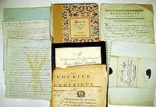 7 Pc. Antique 18th C. FRENCH DOCUMENTS Vellum Manuscript Louis XV Port au Prince Haiti Passport 1788 Paris Police Department Courier de L'Amerique Newspaper Alphonse Daudet Burial Invitation