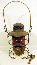 Antique PENNSYLVANIA RAILROAD SIGNAL LANTERN Lock Brass Keys Fraim Armspear Manufacturing Co. Red Fresnel Lens Globe