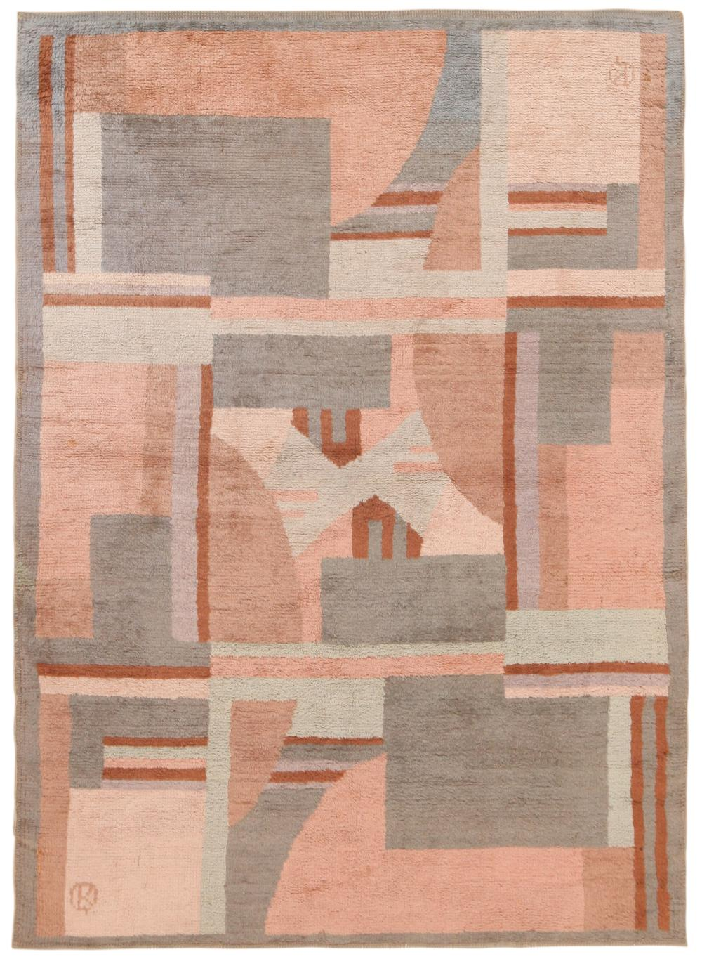 VINTAGE FRENCH MODERNIST RUG, WITH A SIGNATURE. 7 ft 8 in x 5 ft 7 in (2.33m x 1.70m).