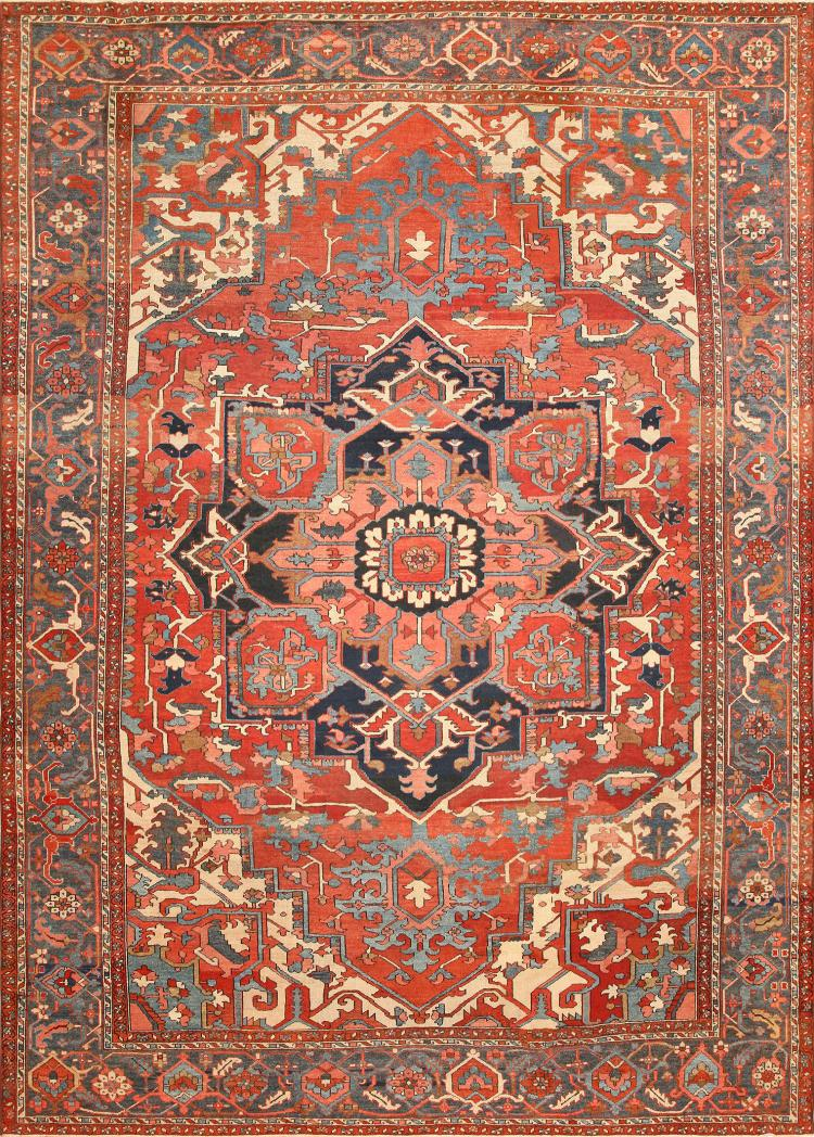 Large Geometric Antique Persian Heriz Serapi Rug 48175