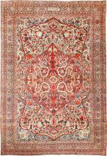 Fine Large Silk and Wool Persian Kerman Lavar Antique Rug 48957